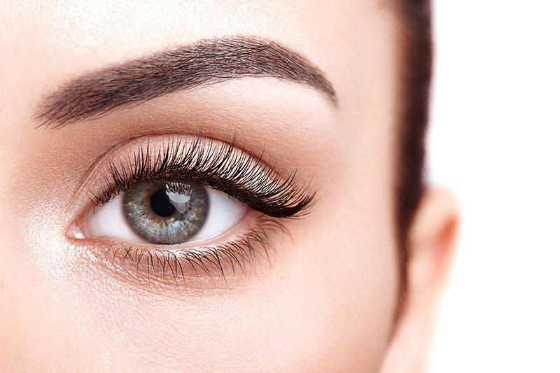 gros plan sur oeil gauche d'une jeune femme avec des cils volumineux et des sourcils bien dessinés